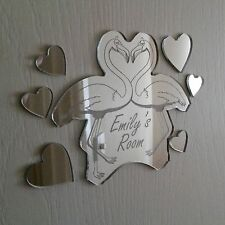 Flamingo Heart Mirror Set Personalised Door Name Plaque Boy Girls Bed Room Sign