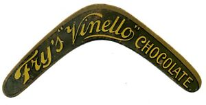 """FRY'S """"VINELLO"""" CHOCOLATE die cut BOOMERANG trade card toy"""