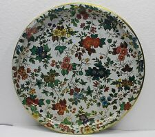 English Daher Decorated Ware METAL TRAY PLATTER Floral Design Round 16""