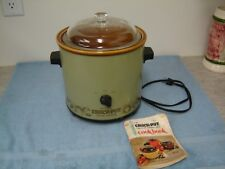 Vintage Rival Crock Pot Slow Cooker Green Avocado Model 3100/2 -  Glass Lid