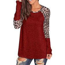 Fashion Womens Long Sleeve Leopard Tee Tops Ladies Loose Jumper Blouse T-shirts