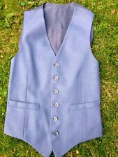 """Mens Vintage Blue Tweed Style Country Dapper Waistcoat 34"""" Regular Size: Small"""