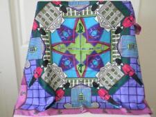 "Vintage Esprit Elite 36"" Square Silk Satin Scarf~Wrap~Wearable Art~Gorgeous"