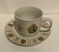 GIBSON EVERYDAY CHINA CUP AND SAUCER Birdhouses And Flowers