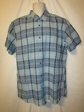 mens quiksilver surfer plaid button shirt L nwt everyday check blue s/s