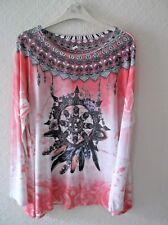 A87 LADIES MADE IN ITALY LONG CORAL MULTI PRINT TUNIC TOP WOMENS PLUS SIZE 16-18
