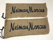 Set of 2 Neiman Marcus Wine Gift Bag Beige w/ Navy Blue Logo Draw String