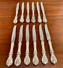 (12) RARE REED & BARTON STERLING SILVER DESSERT KNIVES FRANCIS I 1907 - NO MONO