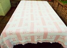 Pink and white machine knitted Double Bedspread 92 x 80 inches + fringe