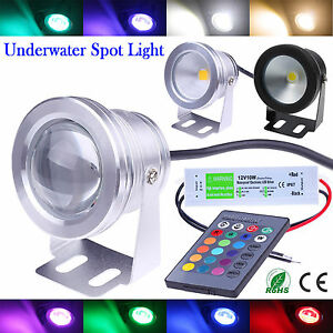 IP68 10W LED Underwater Spot Light RGB Cool Warm Garden Pond Lamp + 12V Adapter
