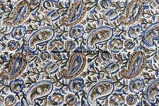 2.5 Yard Indian Light Fabric 100% Cotton Voile Fabric Block Printed Beige Fabric