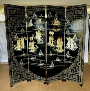 Asian Oriental 4 Panel Double Sided Folding Floor Screen Room Divider Partition