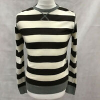 Mens Size Small Jones Brown And White Stripe Soft Touch Jumper