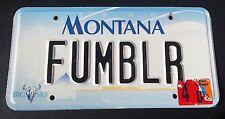 "MONTANA VANITY LICENSE PLATE "" FUMBLR "" FUMBLE FUMBLES FOOTBALL NFL RUNNING BACK"