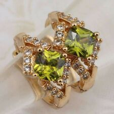 Lovely Peridot Green Princess Jewelry Yellow Gold Filled Huggie Earrings h2918