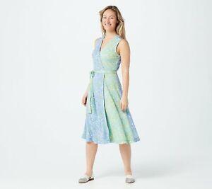 Isaac Mizrahi Live! Floral Contrast Knit Wrap Dress (Blue/Green, S) A376862