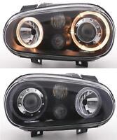 VW Golf Mk4 98-04 Black Twin Angel Eye Projector Headlights with FOG by Depo