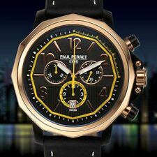 NEW Paul Perret 14066-BKYW Mens Voltaire RoseGold Bezel Black Swiss Chrono Watch