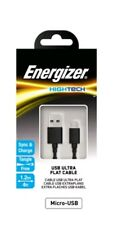 Energizer Hightech USB - Micro Ultra Flat Cable , 1.2m (4ft) Black , Micro - USB