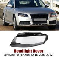 Left Passenger Side For Audi A4 09-12 B8 Front Kit Cover Lens Headlight Headlamp