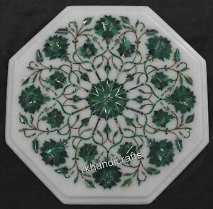 15 Inches Marble Coffee Table Top Inlay Side Table with Beautiful Floral Design
