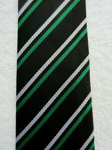SCHOOL COLLEGE BLACK GREEN LIGHT GREY STRIPED 3 INCH tie NECKTIE