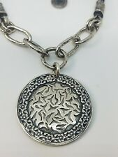 Silpada N1711 Sunburst Medallion Sterling Silver leather Cord Necklace