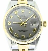 Rolex Datejust Mens 2Tone 18K Gold Stainless Steel Watch Slate Gray Roman 16013
