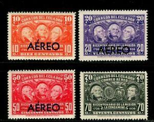 ES-14033 Ecuador 1936 Sc# C39-42 Airmail overprint Geodesikal Mission $4.00