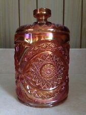 VINTAGE IG IMPERIAL CARNIVAL GLASS HOBSTAR COOKIE / BISCUIT/ CRACKER JAR MINT