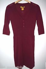 CATHERINE MALANDRINO SWEATER DRESS STUNNING 100% CASHMERE DARK RED KNIT V NECK P