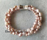 Neu Süßwasser Perle Armband, 3 Stränge 6-9 mm Lavendel Barock Perle Armband