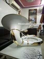 """SOUSAPHONE IN WHITE 25""""BELL OF PURE BRASS METAL MADE  + CASE + FREE SHIPPING"""