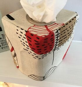 LEAFY GREY CREAM CHARCOAL RED FABRIC TISSUE BOX COVER ..METAL EYELET OPENING