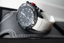 Red Line 10119 Men's Carbon Brake Dual Time Black Dial White Silicone Watch