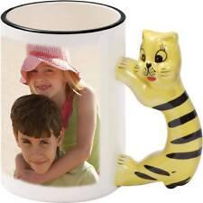 Personalised Kids animal shaped handle customise coffee Mug gift Day Photo magic