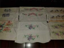 Huge Lot 6 Pairs Vintage Cotton Pillowcases Hand Embroidered Flowers Shabby