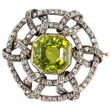 Carl Faberge Peridot Diamond 14K Gold Brooch