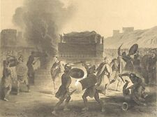 ANCIENT ROME FUNERAL CEREMONY PYRE CREMATION FIRE ~ Old 1882 Art Print Engraving