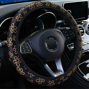 Flower Pattern DIY Silk 38cm Car Auto Steering Wheel Cover W/ Needles and Thread