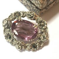 Antique Victorian 925 Silver Paste Amethyst Marcasite Oval Floral Brooch