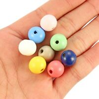 50Pcs Mixed Color 12mm Round Ball Natural Wood Loose Beads Charm DIY Bracelet