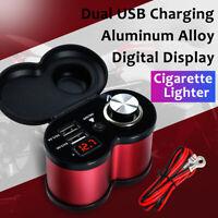 12V/24V Motorcycle Dual USB Charger Phone Power Cigarette Lighter Socket Adapter
