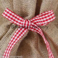 Christmas Hessian Sack With Ribbon Close Weave Jute Gift Bag Stocking Large 50x80cm Rustic Red Check