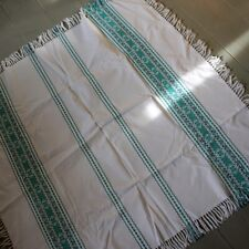 Vintage White & Green Cotton Fringed Tablecloth