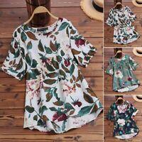 ZANZEA Womens Summer Short Sleeve Floral Tops Blouse Casual Loose Shirt Tee
