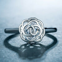 Pretty Flower Rings for Women 925 Silver Jewelry White Sapphire Ring Size 6-10