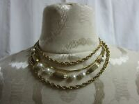 Vintage Statement Necklace Multi Strand Gold Tone Chain  & Faux Pearl Choker
