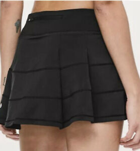 LULULEMON PACE RIVAL SKIRT Mid-Rise Skort BLACK lined w/ shorts-size 2-XS