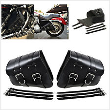 1 Pair (Left & Right) Motorcycle PU Leather Side Swing Arm Saddle Bag Side Bag